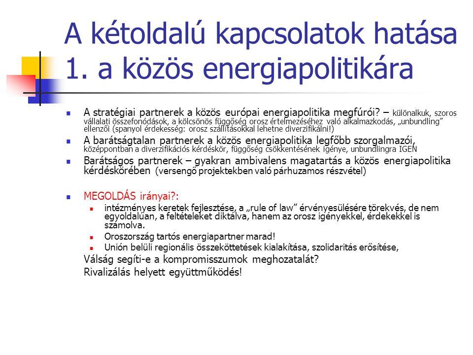 A kétoldalú kapcsolatok hatása 1. a közös energiapolitikára