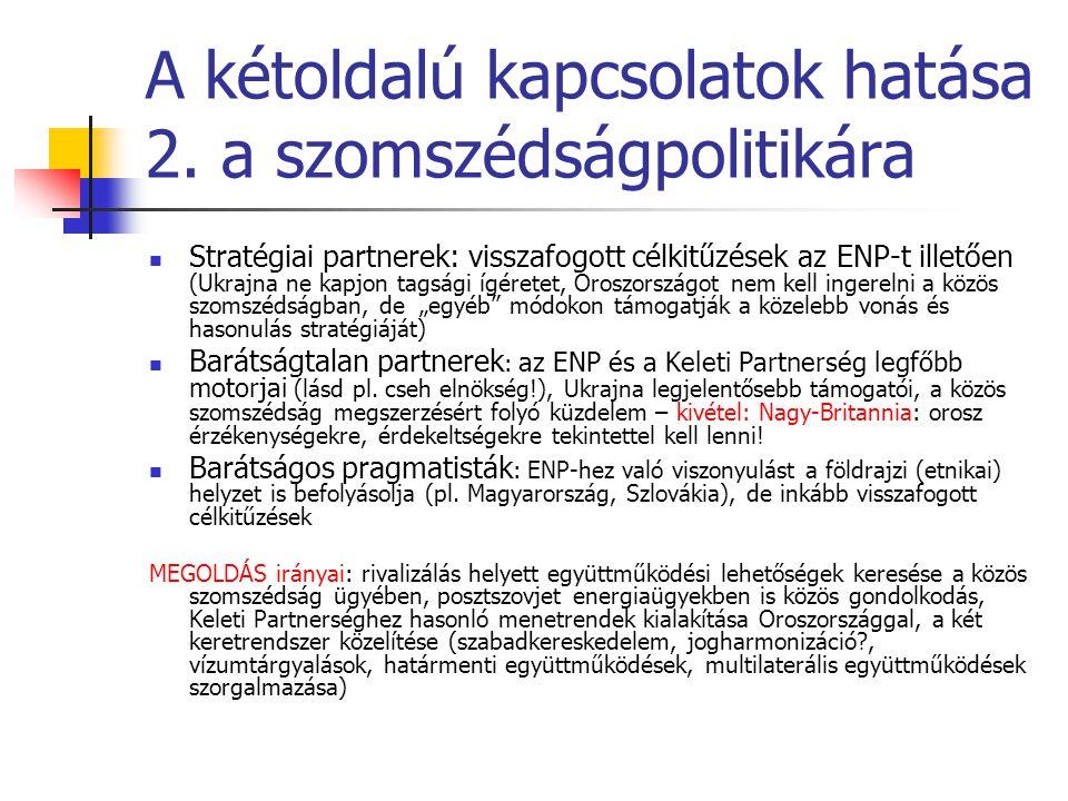 A kétoldalú kapcsolatok hatása 2. a szomszédságpolitikára