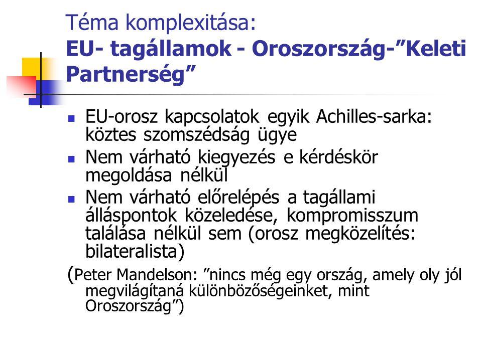 Téma komplexitása: EU- tagállamok - Oroszország- Keleti Partnerség