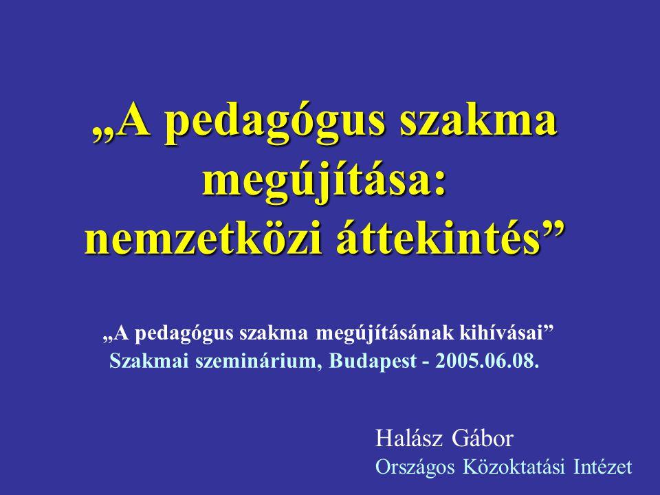 """""""A pedagógus szakma megújítása: nemzetközi áttekintés """"A pedagógus szakma megújításának kihívásai Szakmai szeminárium, Budapest - 2005.06.08."""