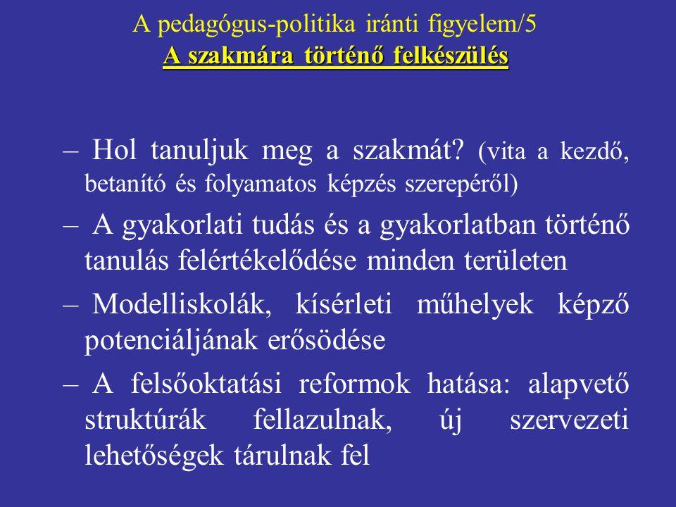 A pedagógus-politika iránti figyelem/5 A szakmára történő felkészülés