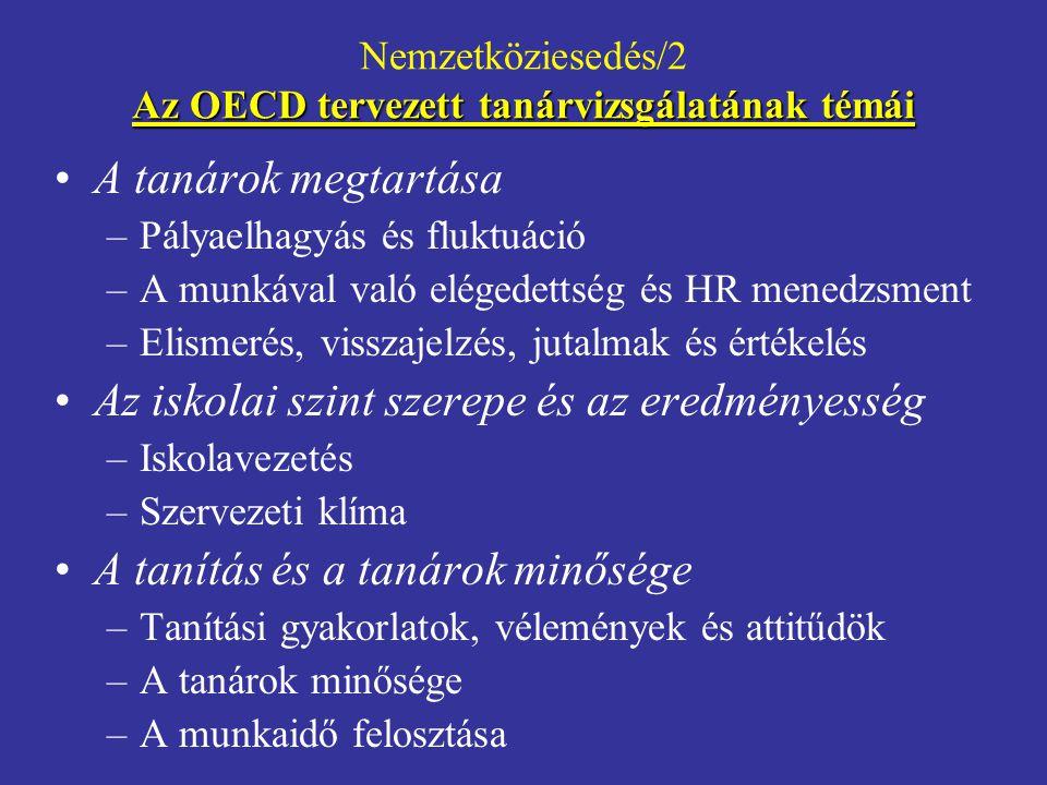 Nemzetköziesedés/2 Az OECD tervezett tanárvizsgálatának témái