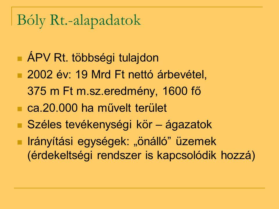 Bóly Rt.-alapadatok ÁPV Rt. többségi tulajdon