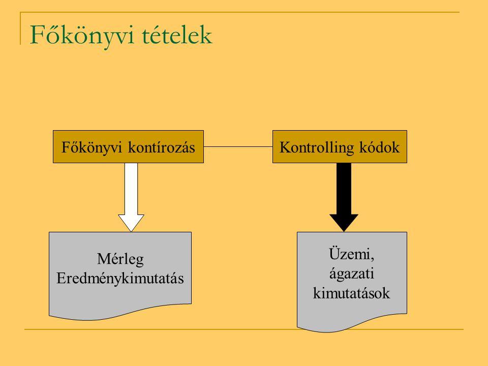 Főkönyvi tételek Főkönyvi kontírozás Kontrolling kódok Mérleg