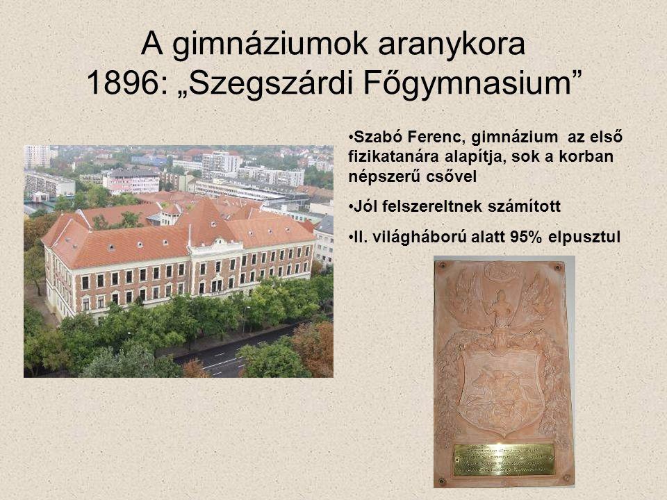 """A gimnáziumok aranykora 1896: """"Szegszárdi Főgymnasium"""