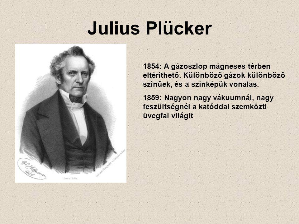 Julius Plücker 1854: A gázoszlop mágneses térben eltéríthető. Különböző gázok különböző színűek, és a színképük vonalas.