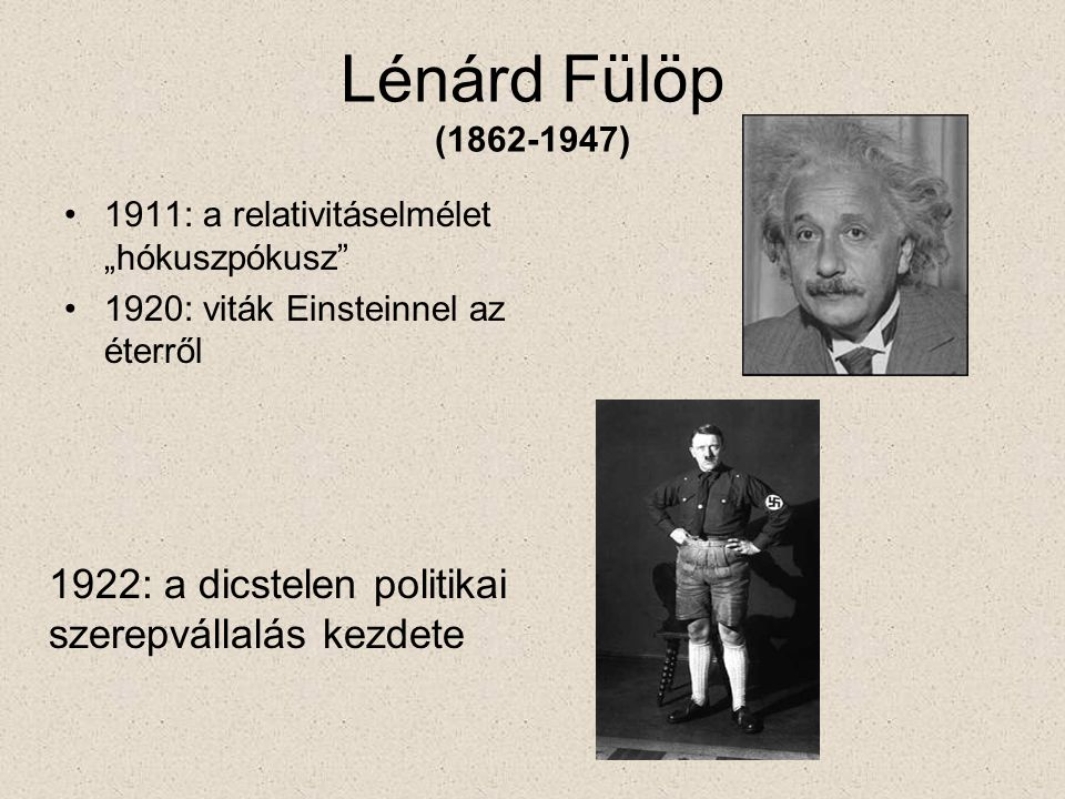 """Lénárd Fülöp (1862-1947) 1911: a relativitáselmélet """"hókuszpókusz 1920: viták Einsteinnel az éterről."""