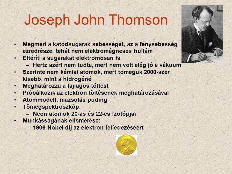 Joseph John Thomson Megméri a katódsugarak sebességét, az a fénysebesség. ezredrésze, tehát nem elektromágneses hullám.