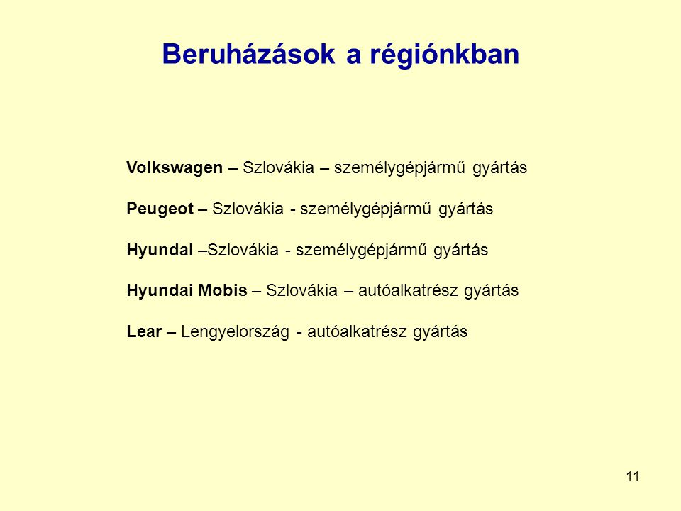 Beruházások a régiónkban