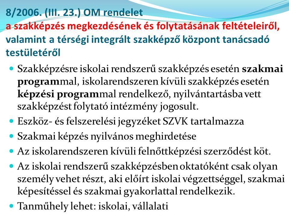 8/2006. (III. 23.) OM rendelet a szakképzés megkezdésének és folytatásának feltételeiről, valamint a térségi integrált szakképző központ tanácsadó testületéről