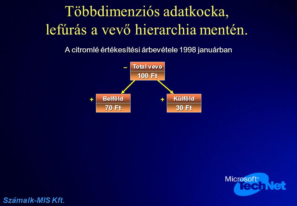 Többdimenziós adatkocka, lefúrás a vevő hierarchia mentén.