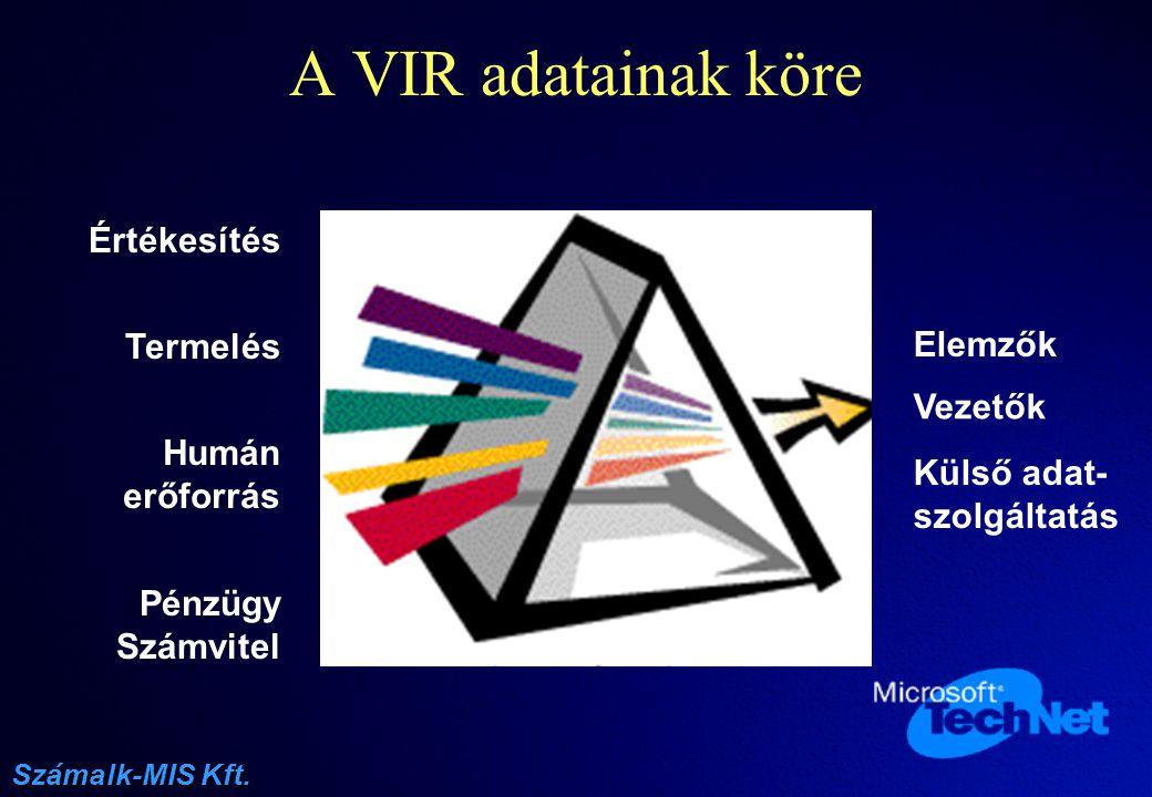 A VIR adatainak köre Értékesítés Termelés Elemzõk Vezetõk Humán
