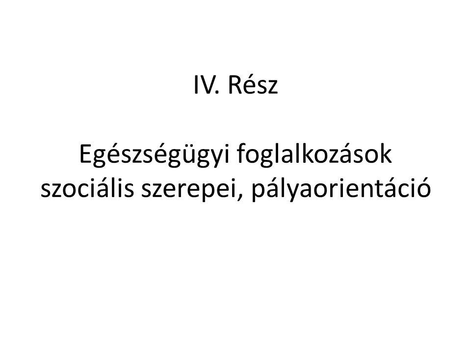 IV. Rész Egészségügyi foglalkozások szociális szerepei, pályaorientáció