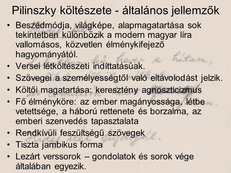 Pilinszky költészete - általános jellemzők