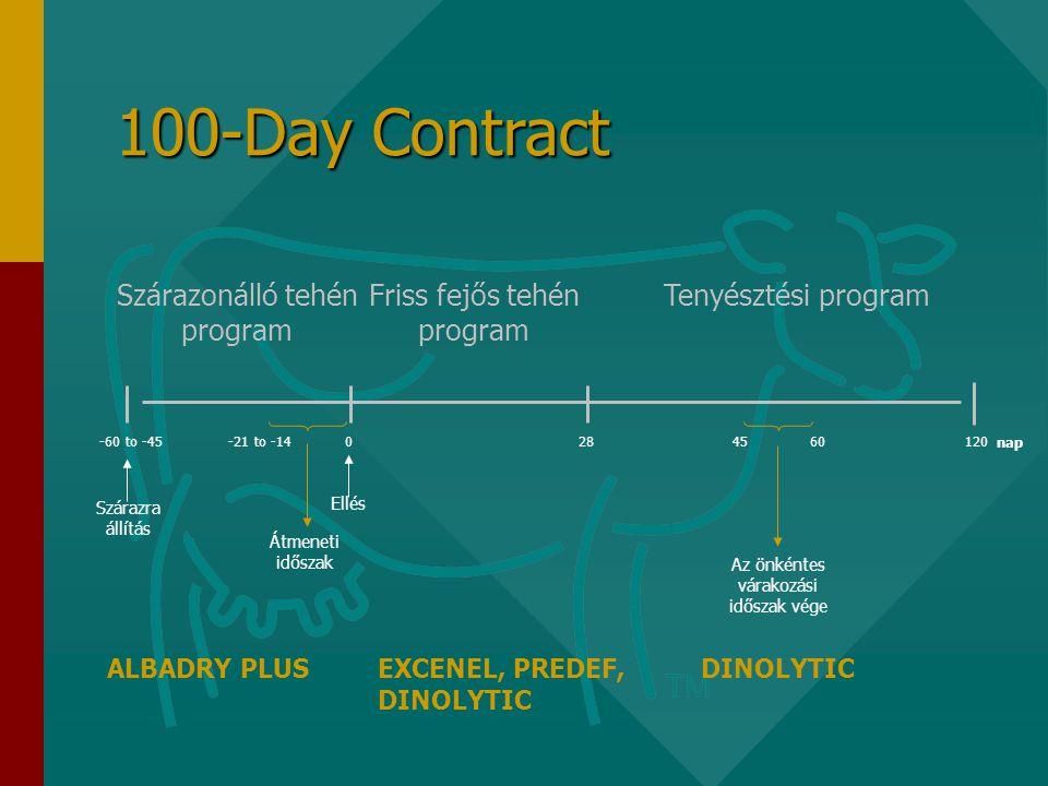 100-Day Contract Szárazonálló tehén program Friss fejős tehén program