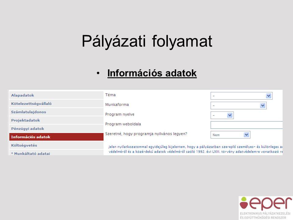 Pályázati folyamat Információs adatok