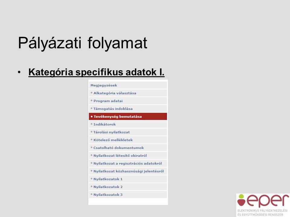 Pályázati folyamat Kategória specifikus adatok I.