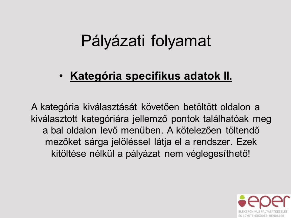 Kategória specifikus adatok II.