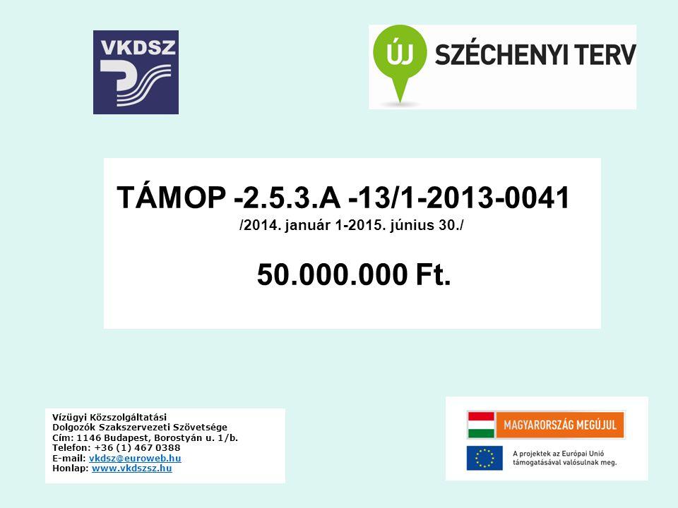 TÁMOP -2.5.3.A -13/1-2013-0041 /2014. január 1-2015. június 30./ 50.000.000 Ft. Vízügyi Közszolgáltatási.