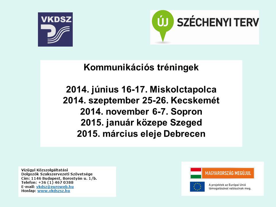 Kommunikációs tréningek 2014. június 16-17. Miskolctapolca