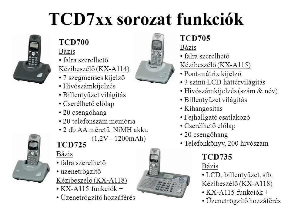 TCD7xx sorozat funkciók