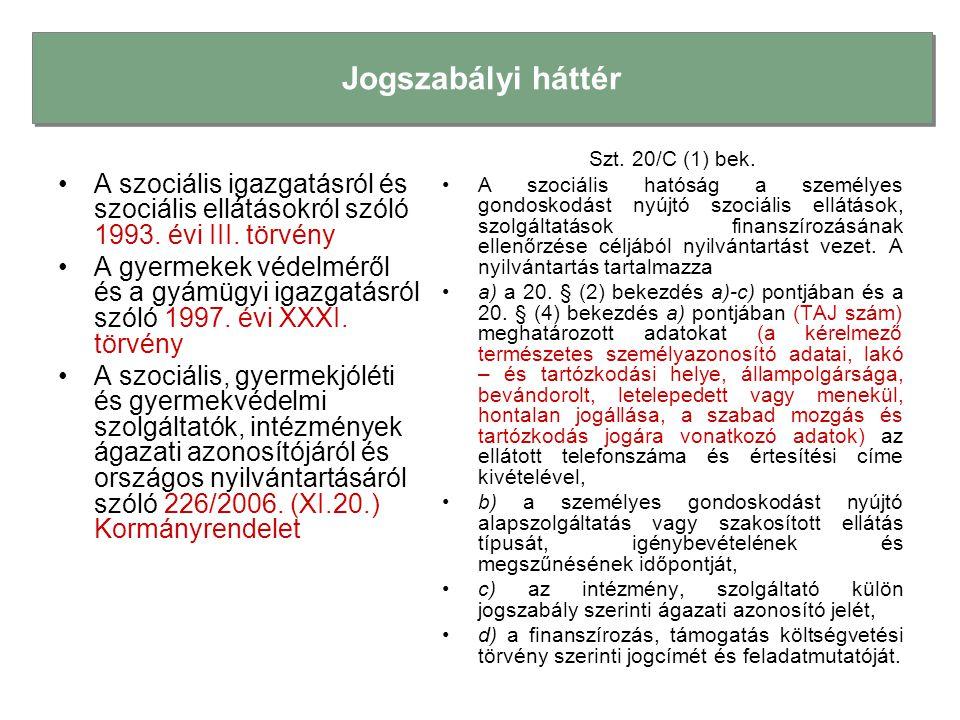 Jogszabályi háttér Szt. 20/C (1) bek.