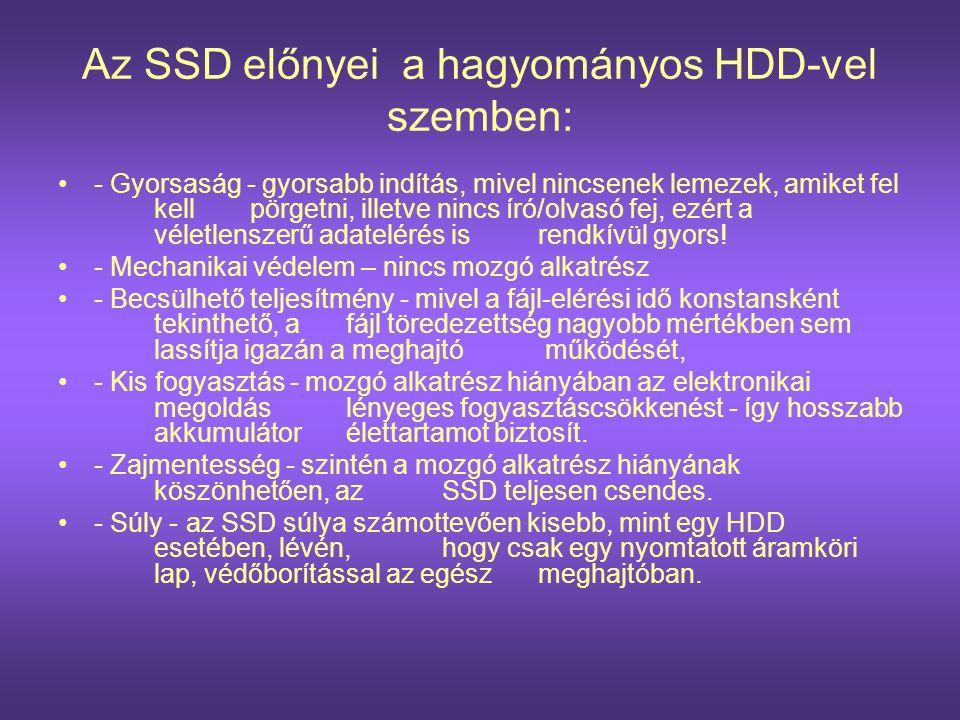 Az SSD előnyei a hagyományos HDD-vel szemben: