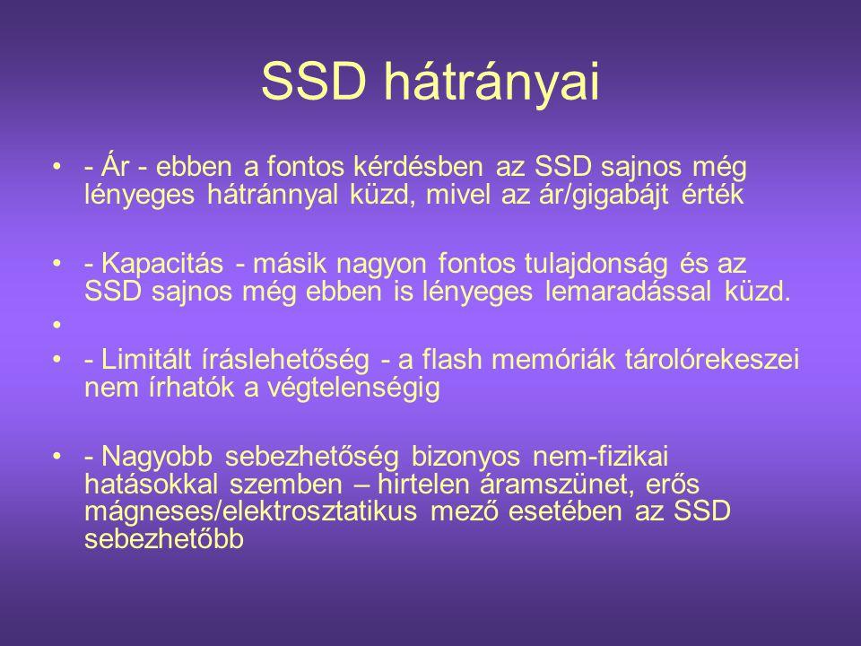 SSD hátrányai - Ár - ebben a fontos kérdésben az SSD sajnos még lényeges hátránnyal küzd, mivel az ár/gigabájt érték.