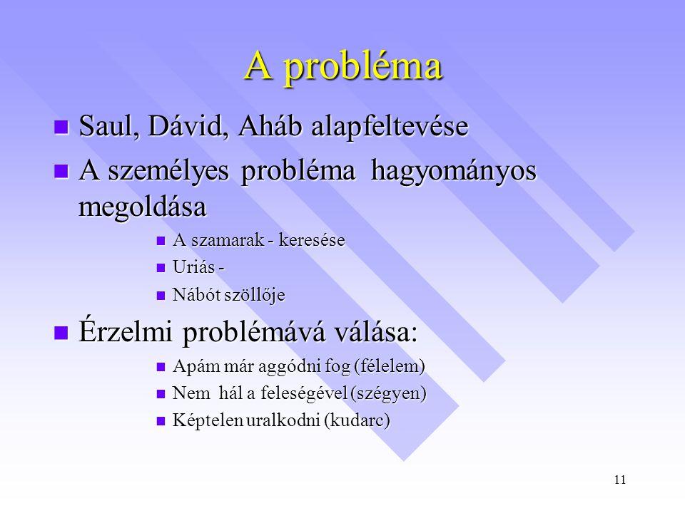 A probléma Saul, Dávid, Aháb alapfeltevése