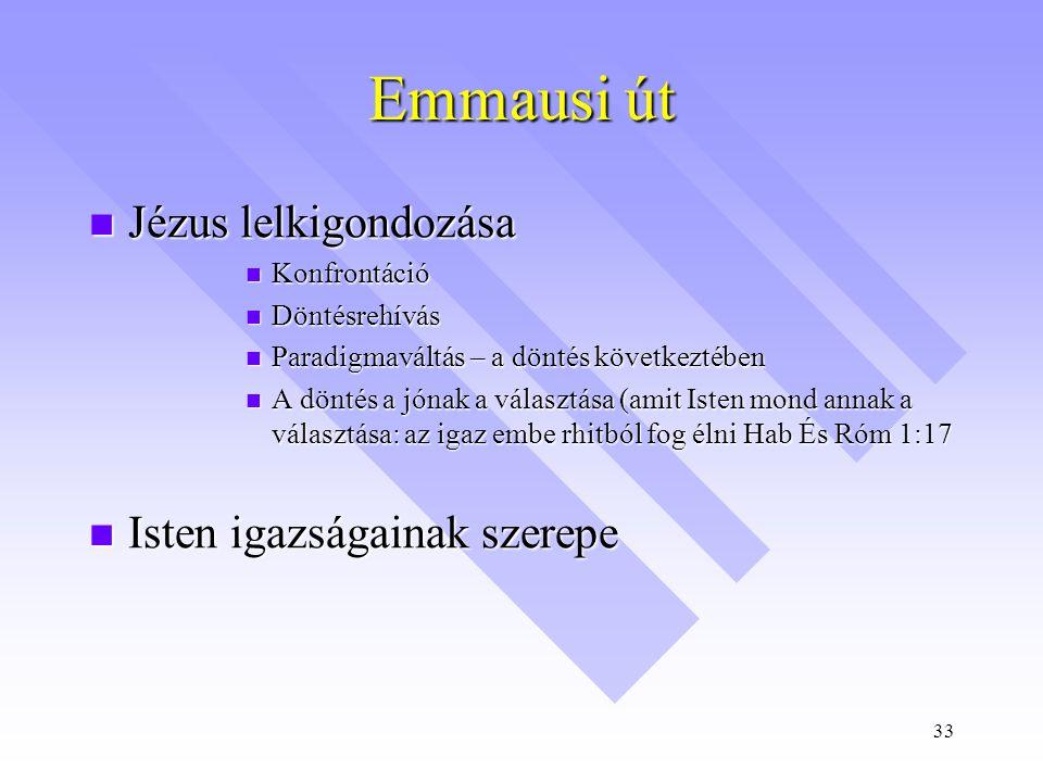 Emmausi út Jézus lelkigondozása Isten igazságainak szerepe