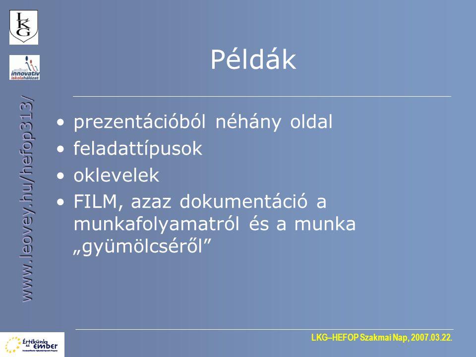 Példák prezentációból néhány oldal feladattípusok oklevelek