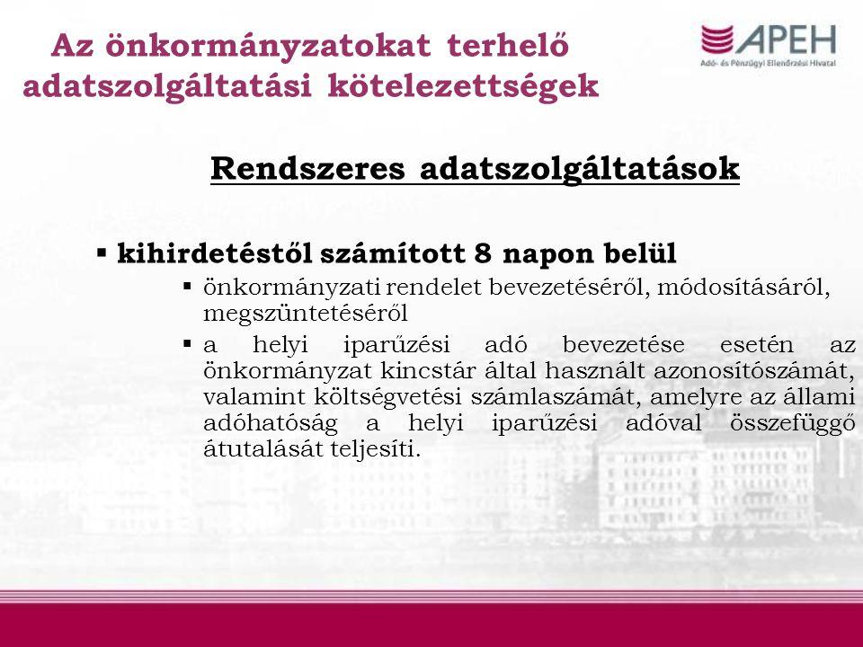 Az önkormányzatokat terhelő adatszolgáltatási kötelezettségek