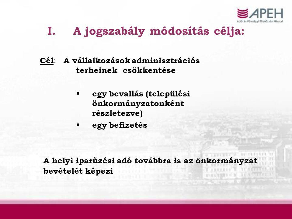 A jogszabály módosítás célja:
