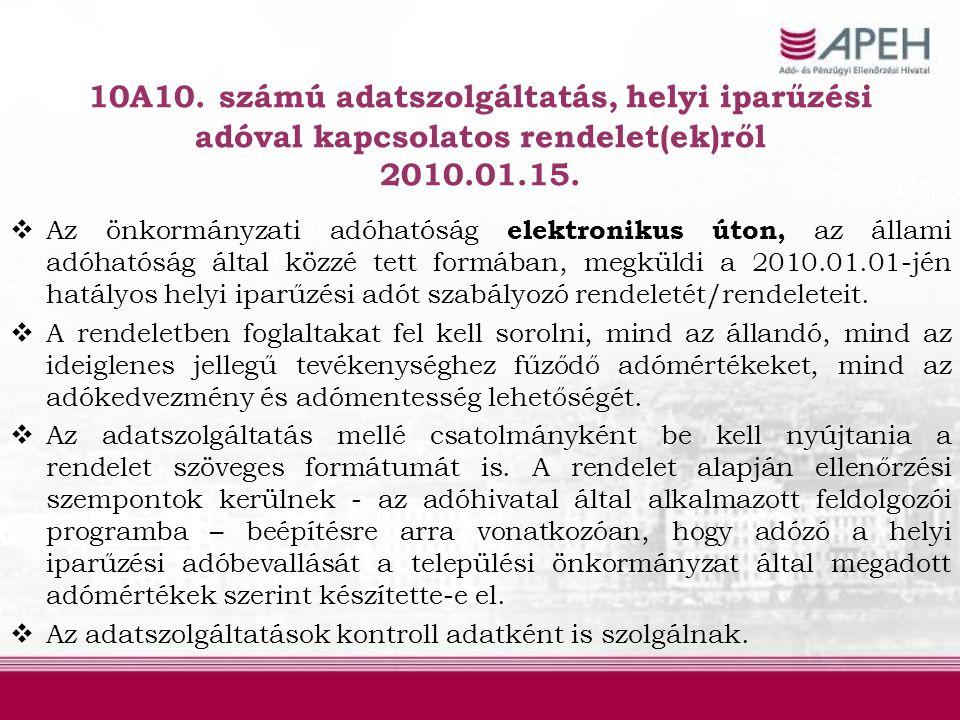 10A10. számú adatszolgáltatás, helyi iparűzési adóval kapcsolatos rendelet(ek)ről 2010.01.15.