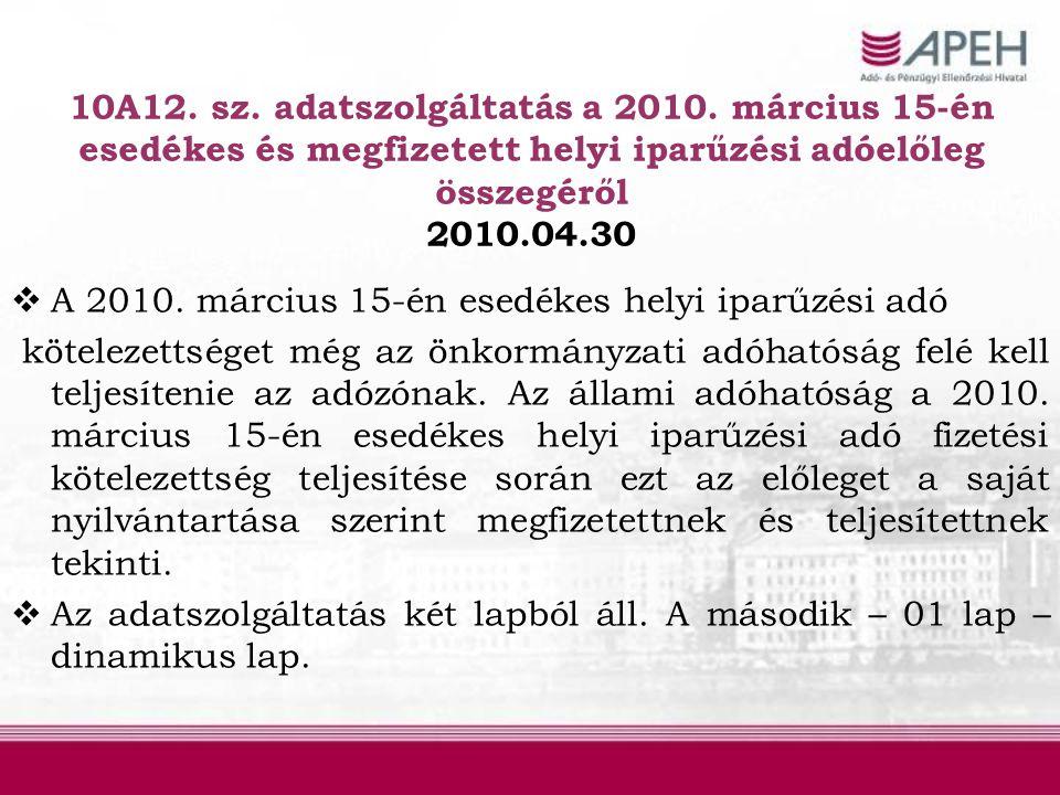10A12. sz. adatszolgáltatás a 2010
