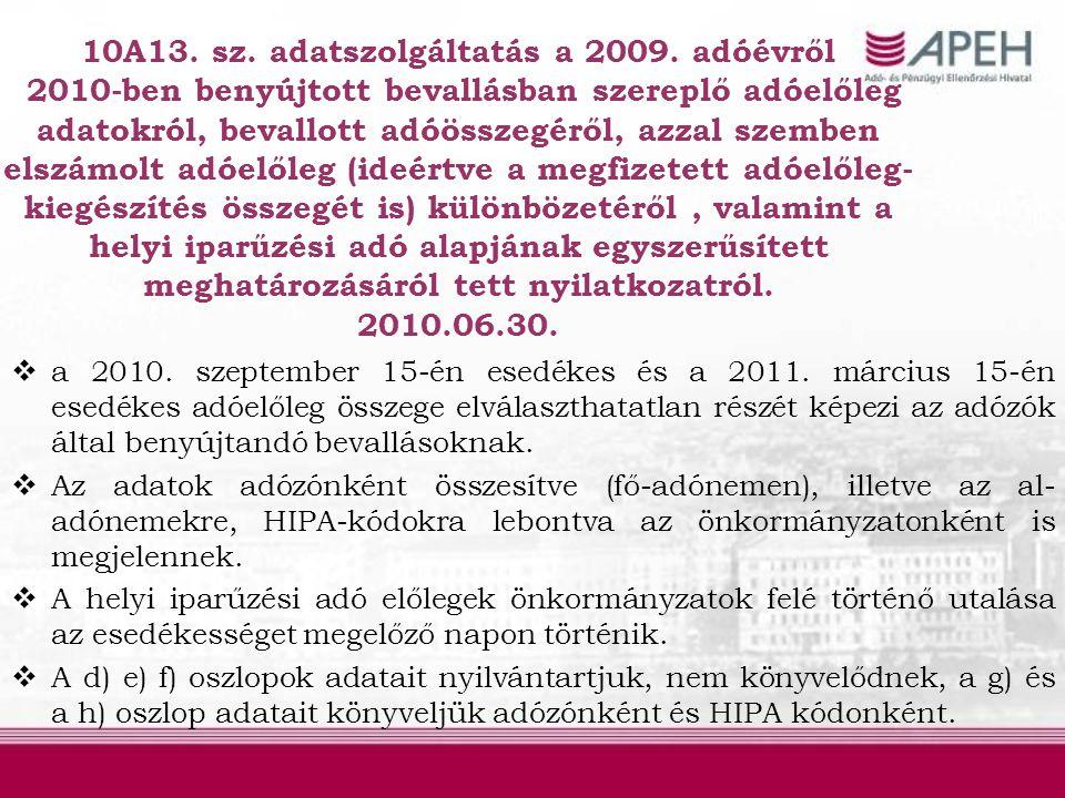 10A13. sz. adatszolgáltatás a 2009
