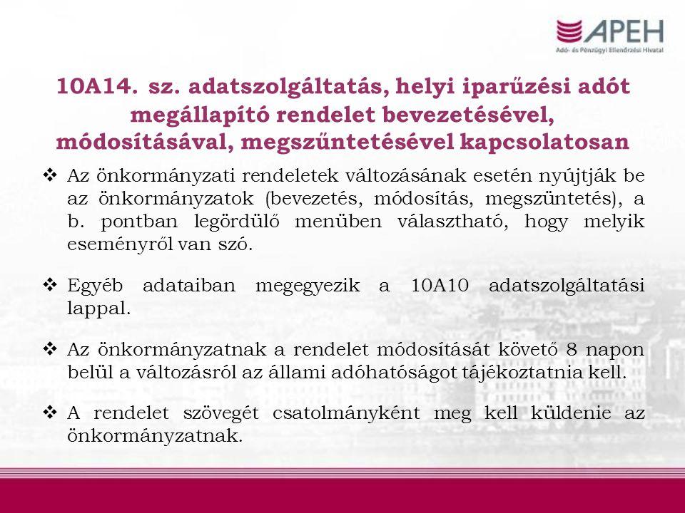 10A14. sz. adatszolgáltatás, helyi iparűzési adót megállapító rendelet bevezetésével, módosításával, megszűntetésével kapcsolatosan