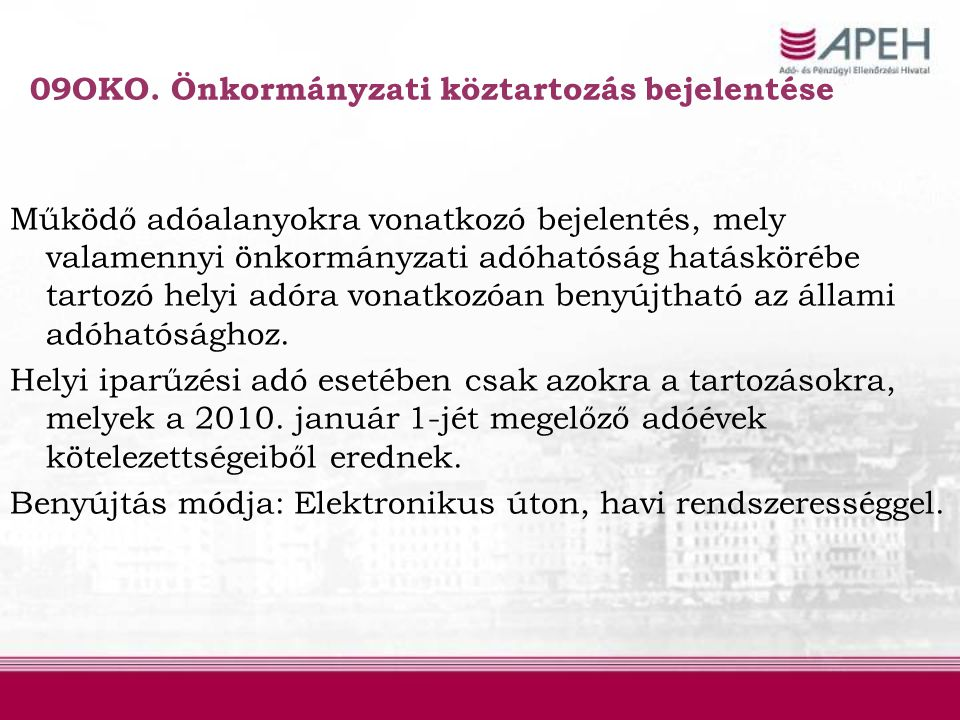 09OKO. Önkormányzati köztartozás bejelentése