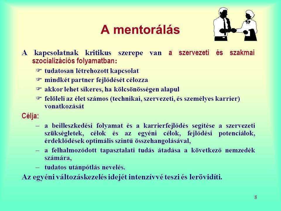A mentorálás A kapcsolatnak kritikus szerepe van a szervezeti és szakmai szocializációs folyamatban: