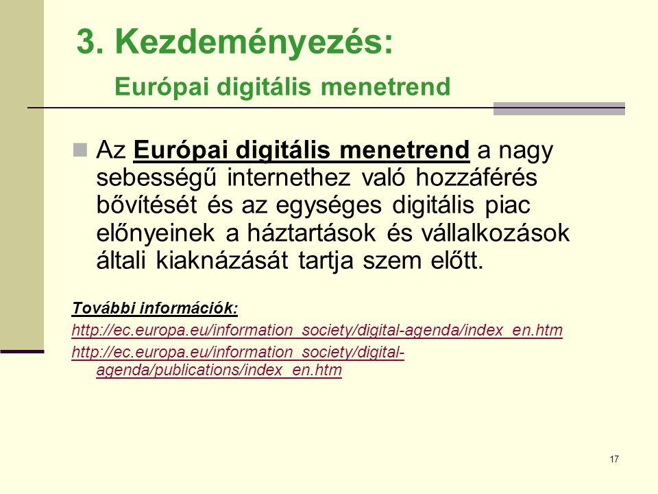 3. Kezdeményezés: Európai digitális menetrend