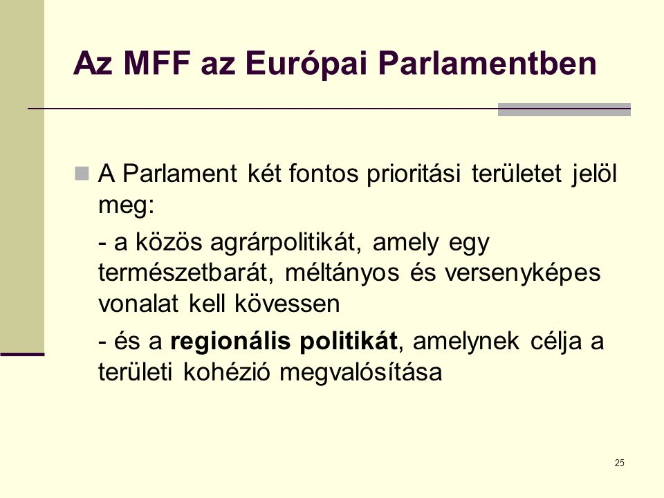 Az MFF az Európai Parlamentben