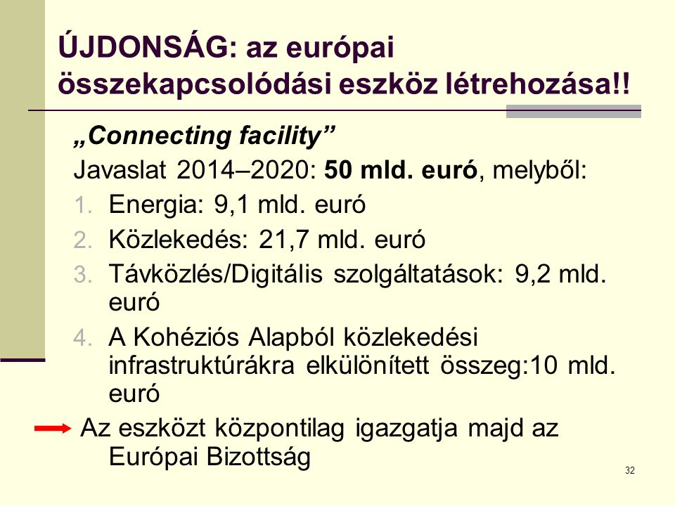 ÚJDONSÁG: az európai összekapcsolódási eszköz létrehozása!!