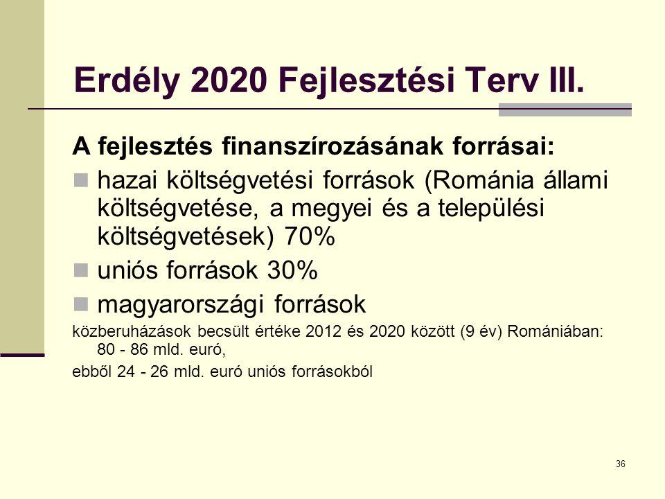 Erdély 2020 Fejlesztési Terv III.