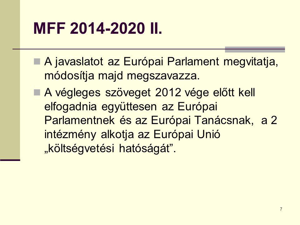 MFF 2014-2020 II. A javaslatot az Európai Parlament megvitatja, módosítja majd megszavazza.