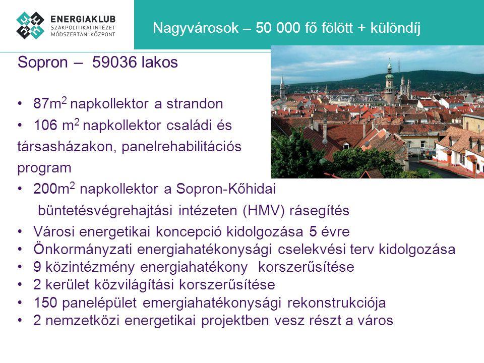 Nagyvárosok – 50 000 fő fölött + különdíj