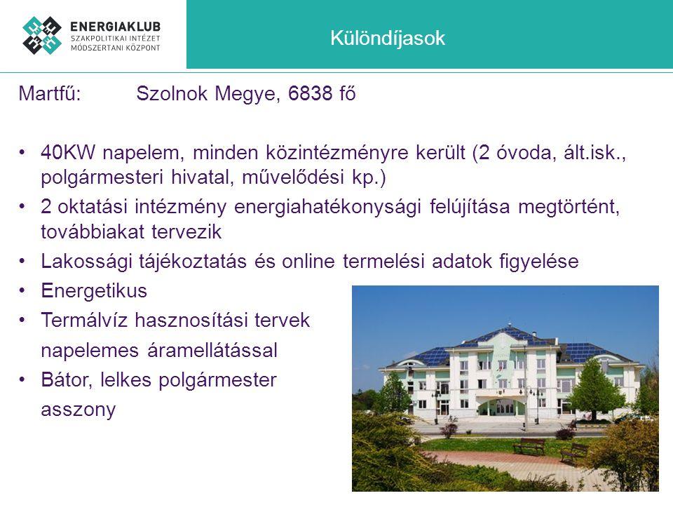 Különdíjasok Martfű: Szolnok Megye, 6838 fő. 40KW napelem, minden közintézményre került (2 óvoda, ált.isk., polgármesteri hivatal, művelődési kp.)