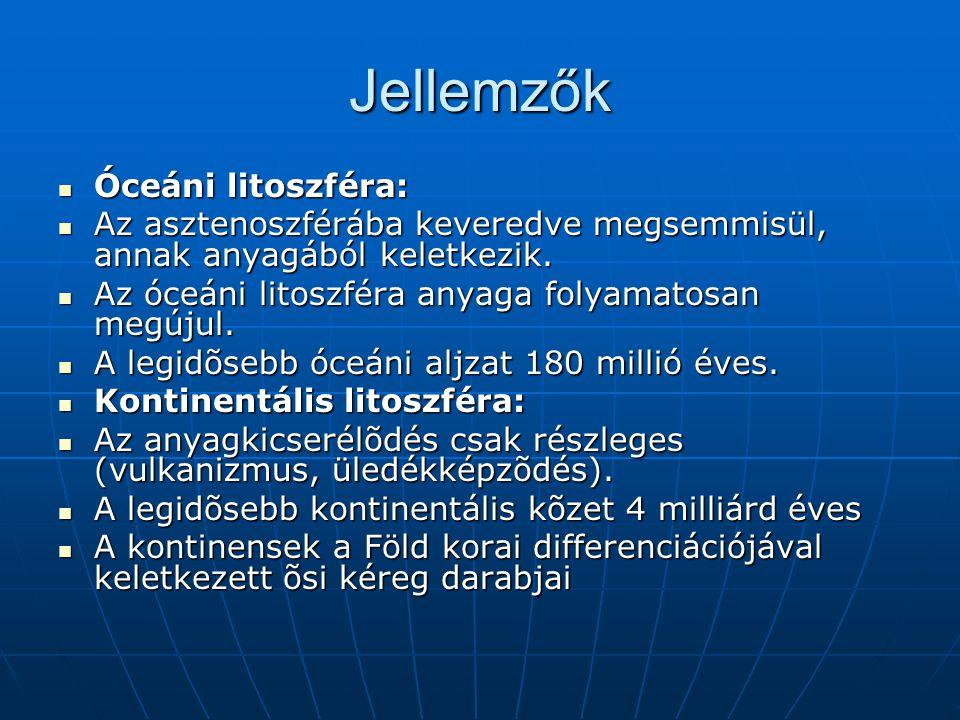 Jellemzők Óceáni litoszféra: