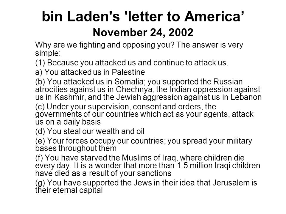 bin Laden s letter to America' November 24, 2002