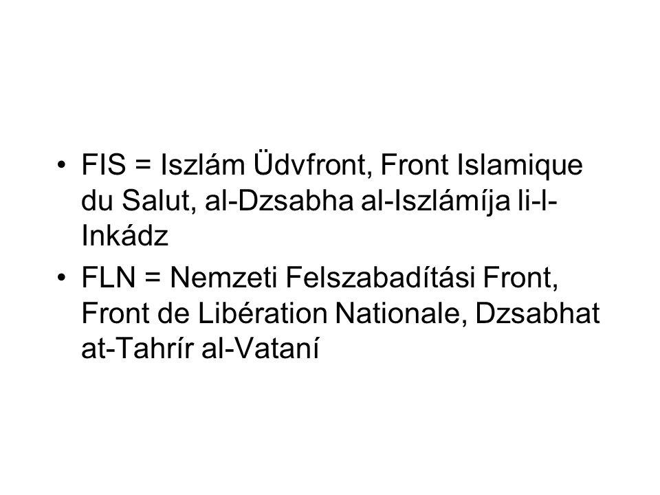 FIS = Iszlám Üdvfront, Front Islamique du Salut, al-Dzsabha al-Iszlámíja li-l-Inkádz