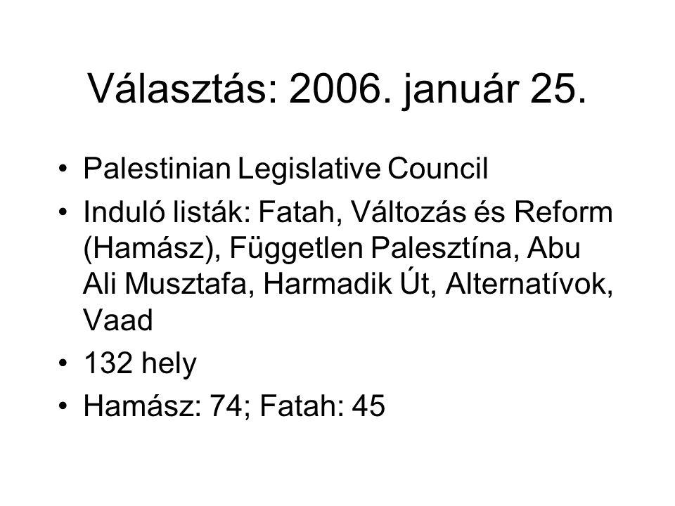 Választás: 2006. január 25. Palestinian Legislative Council